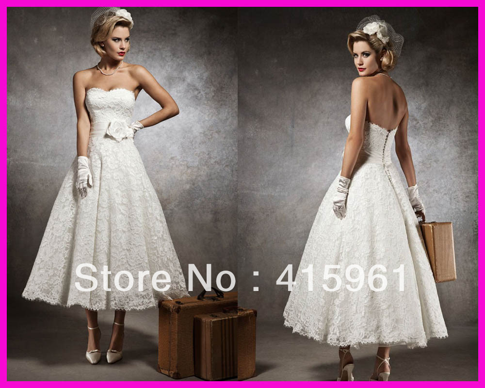 Ivory Summer Strapless Lace Ankle Length Bridal Wedding Dress Belt W1265