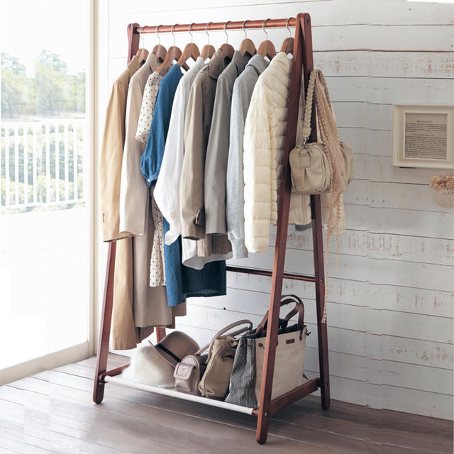 Yi creative home floor wood coat rack hangers clothes rack bedroom ...
