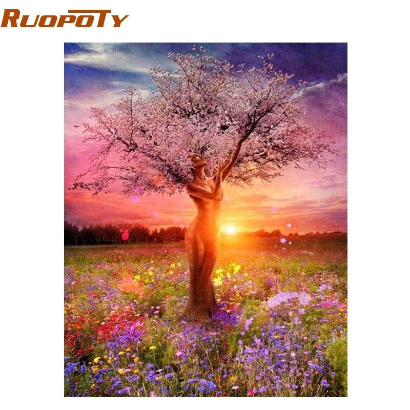 Marco de RUOPOTY cuadro DIY pintura por números árboles atractivos paisaje pintado a mano pintura al óleo para decoración del hogar 40 cm 50 obras de arte de pared