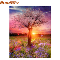 RUOPOTY Frameless Picture DIY Painting By Numbers Sexy Trees Landscape Handpainted Oil Painting For Home Decor