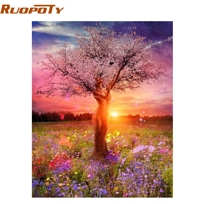 RUOPOTY Frame Picture DIY Painting By Numbers Sexy Trees Landscape Handpainted Oil Painting For Home Decor 40x50cm Wall Artworks