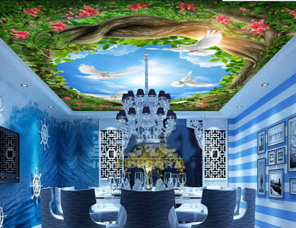 Custom Landscape Wallpaper Forest Trees Blue Sky and White Clouds 3D Ceiling Murals Wallpaper Living Room custom ceiling wallpaper blue sky and white clouds murals for the living room apartment ceiling background wall vinyl wallpaper