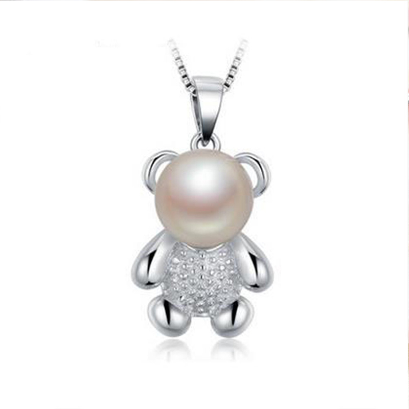 8-9mm New Sweety Fresh Water Bear Pearls Necklace Pendants 925 Sterling Silver Color Trendy Pearl Pendant Necklace