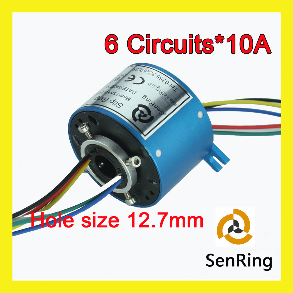 Electrical rotary joint connector 6 circuits 10A of bore size 12.7mm through hole slip ring seasoned equity offerings in an emerging market