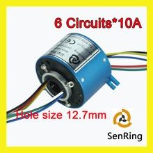 Elektrische drehgelenk-anschluss 6 schaltungen 10A bohrung 12,7mm durchgangsloch schleifringes