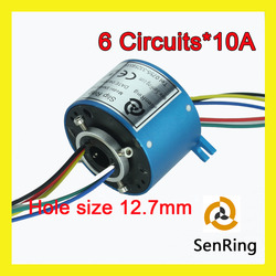 Electrical rotary joint connector 6 circuits 10A of bore size 12.7mm through hole slip ring