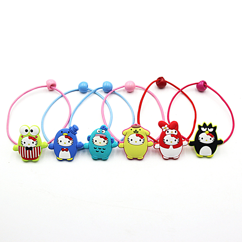 2 PCS Lovely Sanrio Hair Ropes Kids Headwear Painted Resin Princess Headdress Girls Hair Accessories Children Elastic Hair Bands newly design manual girls hair accessories kids elastic hair bands princess headwear children hair bow ropes baby headdress