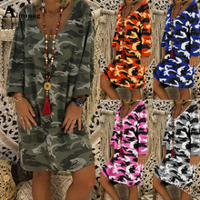 Plus size S-4XL Camouflage Printed Long Sleeve V-neck ArmyGreen Knee Length Female Dress Autumn 2019 Casual Loose Women Dress