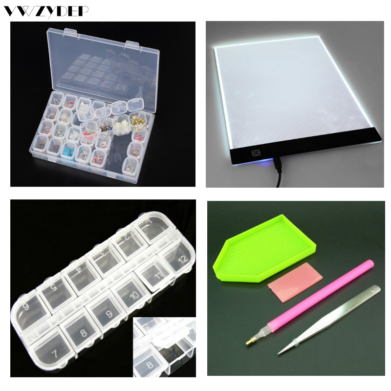 28/12 Slots Diamond Embroidery Box Diamond Painting Cross Stitch tool sets Stitch Tools Kits Ultrathin A4 LED Light Tablet Pad