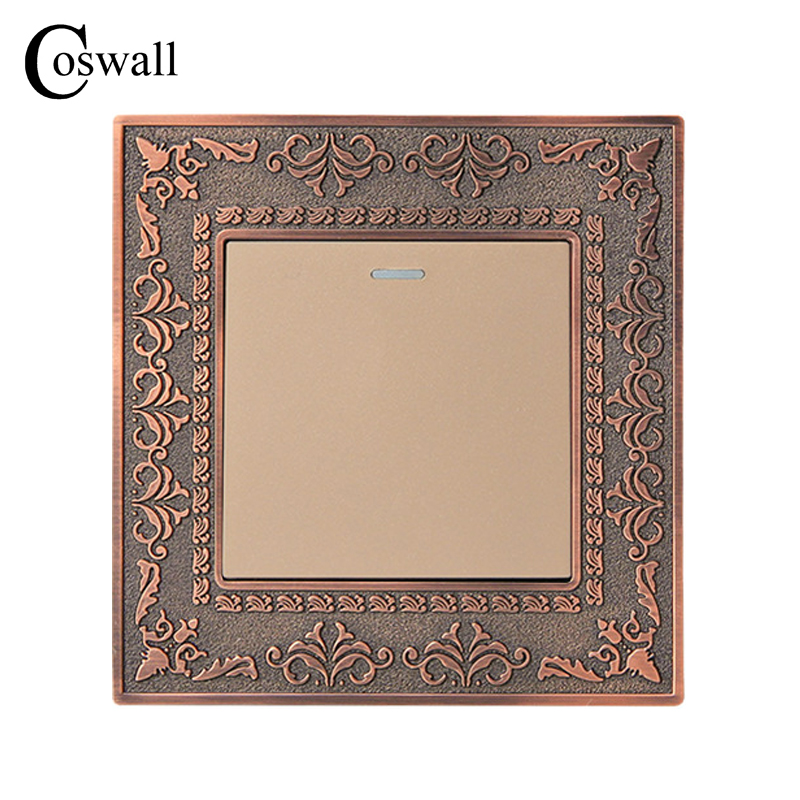 Coswall 1 Gang 1 Way Wall Switch 4D Embossing Retro Zinc Alloy Panel Luxury Push Button Light Switch 16A AC 110~250V uk standard luxury gold switch panel wall switch 110 250v 16a push button switch and 4 gang 2 way light switch
