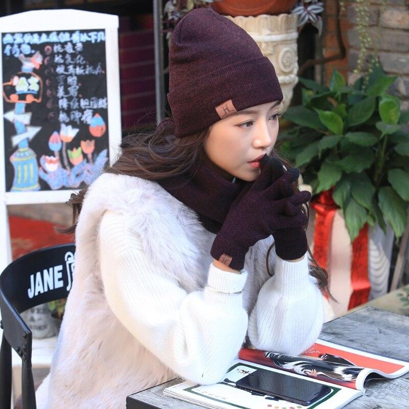 KLV 3 Pcs Unisex Men Women Knit Hat Scarf Touch Screen Gloves Warm Winter Set Solid