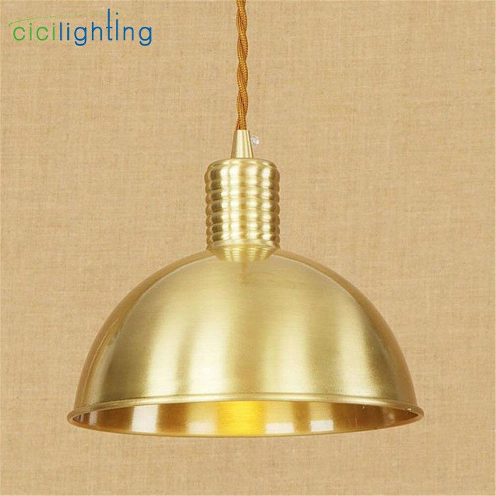 American Village Style Pure Copper Pendant Lights Gold decorative ...