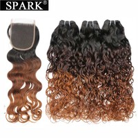Spark Hair Ombre Brazilian Water Wave Bundles With Lace Closure 3/4 Bundles Human Hair With Closure 1B/4/30 Remy Hair Extensions