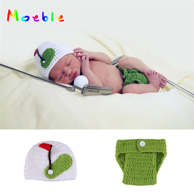 Latest Crochet Newborn Photo Props Sports Costume For Photo Shoot Knitted Baby  Hat Infant Golf Outfits Photography Accessories 672efab9afa