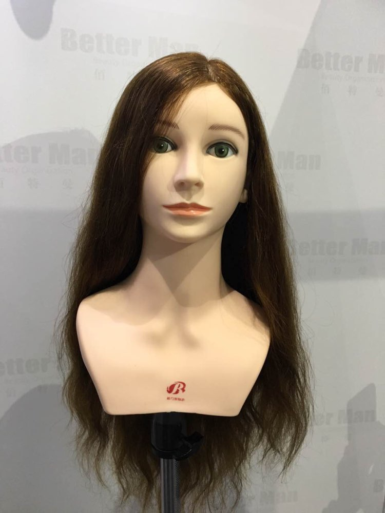 Free Shipping Mannequin Dummy Manequin Cosmetology Mannequin Heads 22 100% Human Hair Training Mannequin Head With Human Hair