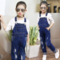 fashion hole 2017 autumn children jeans for girl denim overalls kids long pants clothing teenagers little big girl jean pant