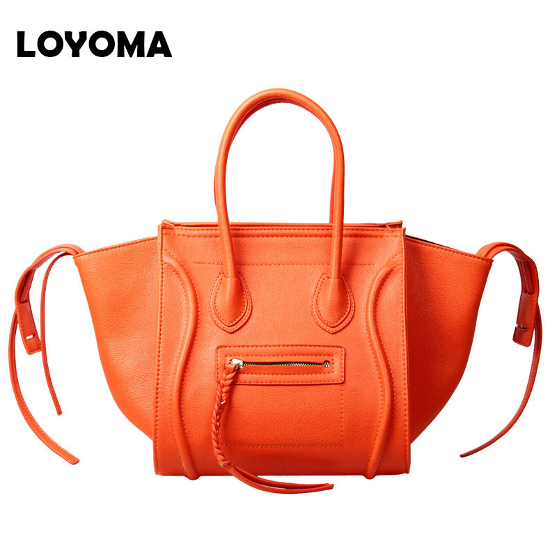 2019 Fashion Ladies PU Leather Women Handbags Smiley Tote Bags Vintage Smile Face Gold Leather Handbags