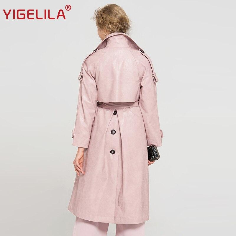 Mode Long 9677 Manteau coat Breasted Turn Slim Col 2019 Rose Ceinture Double Yigelila Pu Dernières Trench Down Femmes ZH0x06