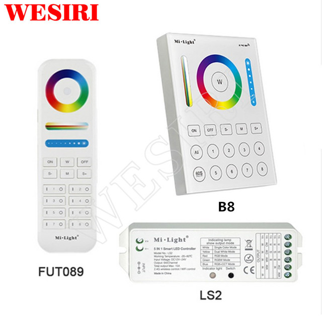 Milight 2.4G Wireless 8 Zone FUT089 RF Remote B8 Wall mounted Touch Panel LS2 5in1 Smart LED Controller for RGB+CCT LED Strip