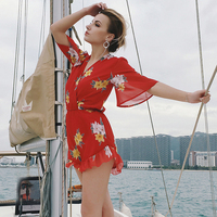 Summer Jumpsuit Women Rompers Sexy Bodysuit V neck Playsuit Short Ruffles Sleeve Catsuit Chiffon Playsuits Ladies Red Jumpsuits