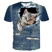 0e45d40009 BIANYILONG 2018 Nova 3D camiseta Homens Crânio camiseta Impressão Cowboy  Gato Verão Tops Casual Tees Streetwear Manga Curta o Di.