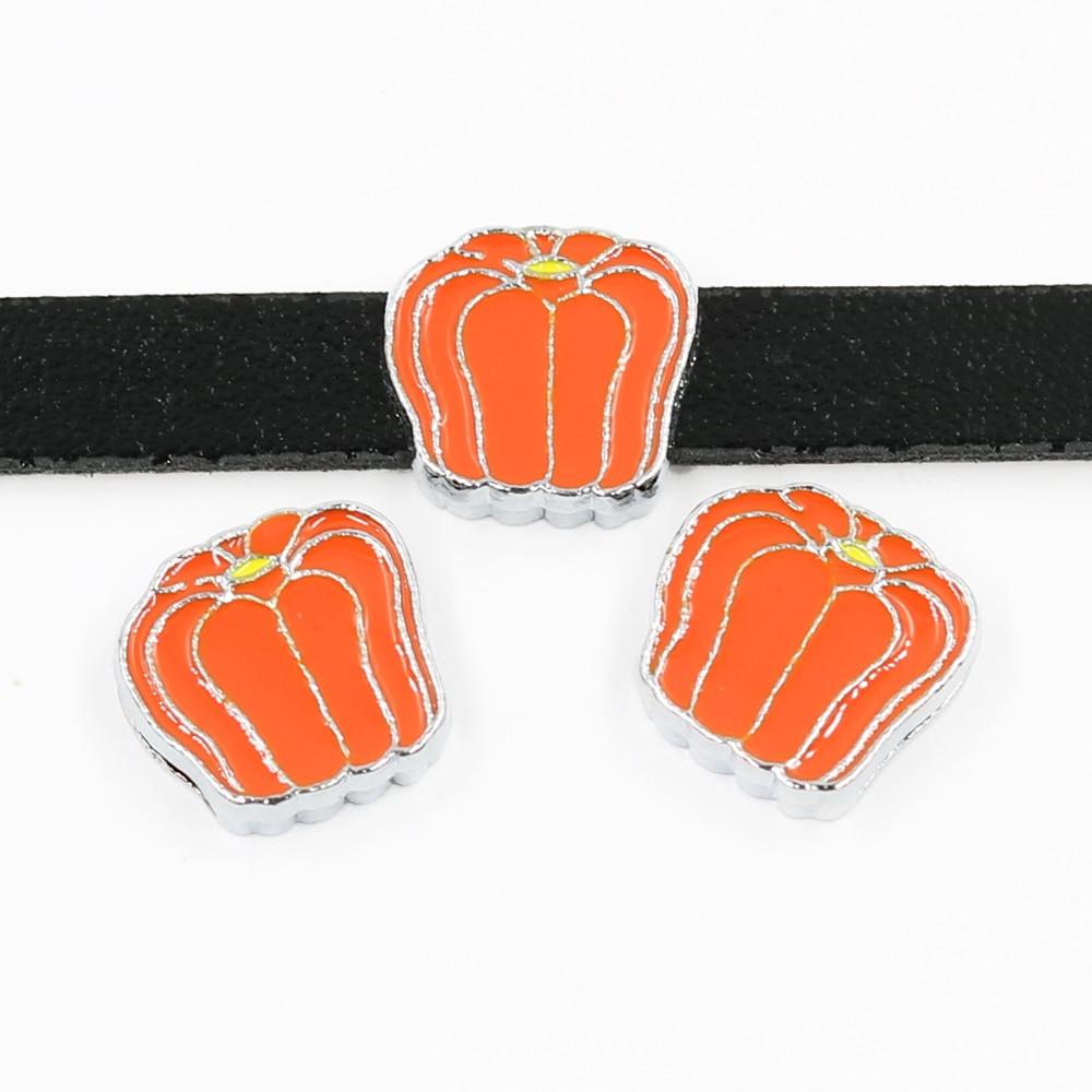 10pcs Hallowmas Pumpkin 8mm Slide Charms Jewelry Making Fit Wristbands Belts Bracelets Key Chain DIY Gifts SL524