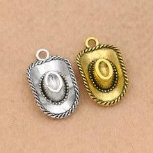b9df7a955742 10 piezas de plata antiguo Chapado en Vaca niño sombrero encantos colgantes  para hacer collar pulsera resultados de la joyería D..