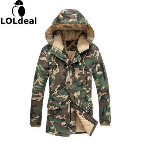 Loldeal Fashion camouflage   parkas   men military winter coat men thickening cotton-padded winter jacket men with fur hood