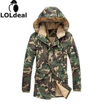 2016 Fashion  men camouflagemilitary medium-long Hoodie Mens thickening cotton-padded winter Sweatshirt with fur a hood
