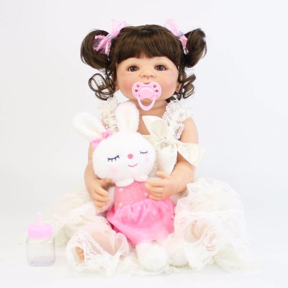 57cm Full Silicone Vinyl Reborn Alive Baby Doll Toys Newborn Princess Toddler Babies Bebe Doll Girls Bonecas Birthday Gift Child цены онлайн