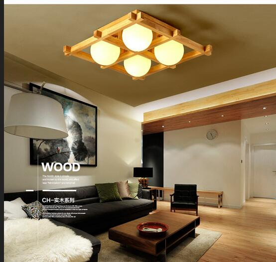 Japanese Tatami Led Ceiling Lamp Bedroom Ultra Thin: Simple LED Solid Wood Lamp New Chinese Tatami Wooden