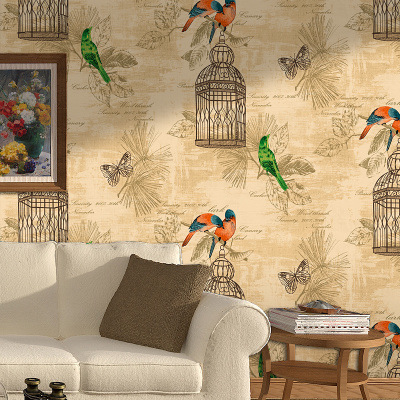 Chinese Style classical flowers birds wallpaper 3D Country bedroom living room background wall roll fashion papel de parede