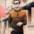 Primavera Y Otoño Masculino Suéter de Cuello alto Básico Engrosamiento Cremallera Suéter de Los Hombres Suéter De Lana Pura
