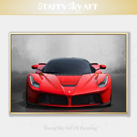 Top Artist Hand painted High Quality Famous Sports Car Oil Painting on Canvas Beautiful Pop Fine Art Red Racing Car Oil Painting