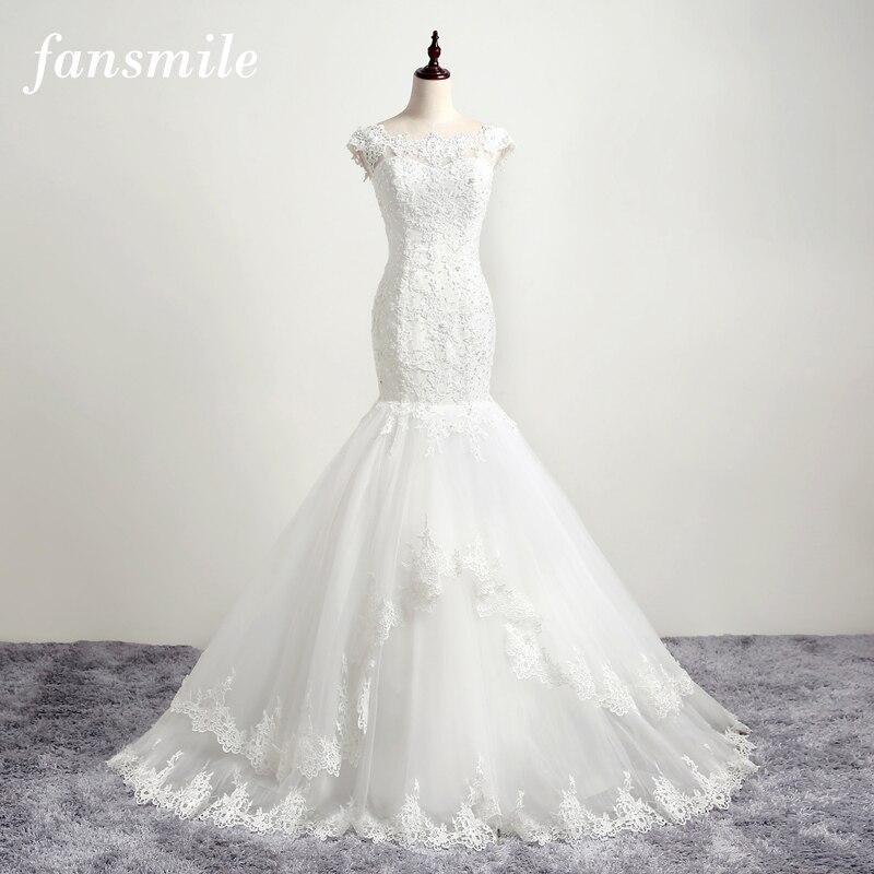 Fansmile Vestido De Noiva High Quality Lace Mermaid Wedding Dresses 2019 Plus Size Customize Bridal Dress FSM-101M