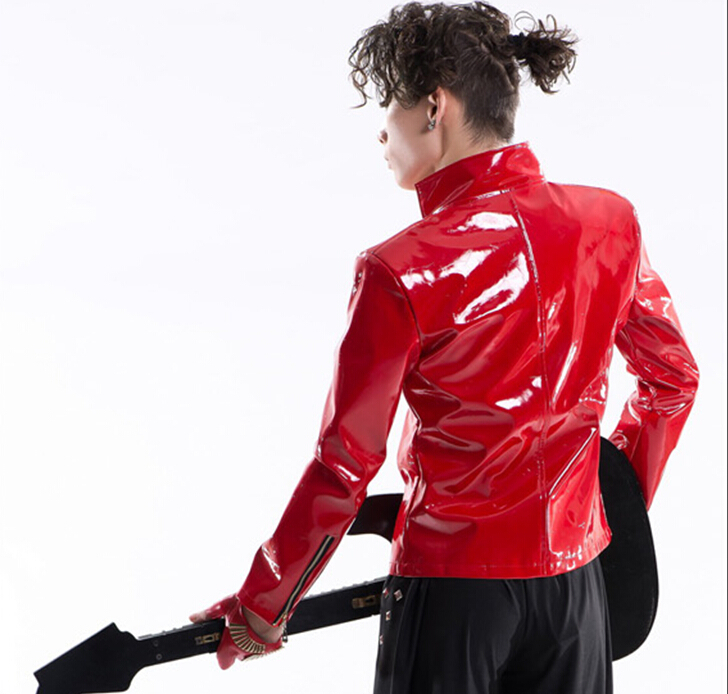 Slim 2015 Hommes Signataire Individualité Mâle Rouge Casual Vêtements Costume En Dj De Fit Rock Scène Nouvelle Boîte Nuit Bar Style Rivets Veste Cuir HvHaqrn