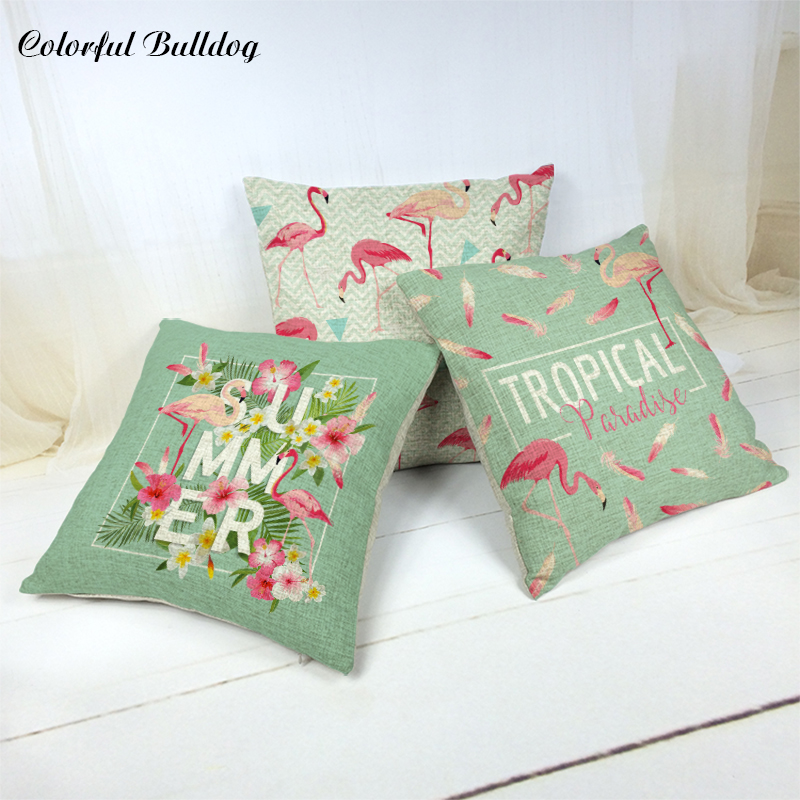 Car-covers Store Cushion Cover Brand Flamingo and Plant Linen Cotton Almofada 45*45Cm Square Home Cat Decor Throw Pillow Covers