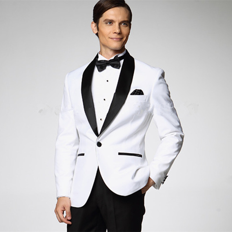 2017 White Jacket With Black Satin Lapel Groom Tuxedos Groomsmen Best Man Suit Mens Wedding Suits