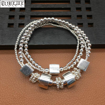 Handmade 925 Silver Beads Bracelet Thai Silver Square Beaded Wrap Bracelet 2 Circle Silver Beads Women Bracelet