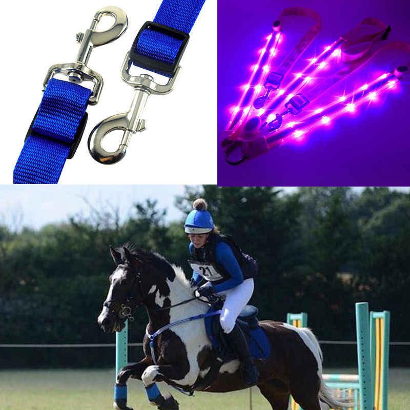 LED Cheval harnais plastron Nylon sangle nuit Visible équipement d'équitation Paardensport course Cheval Equitation