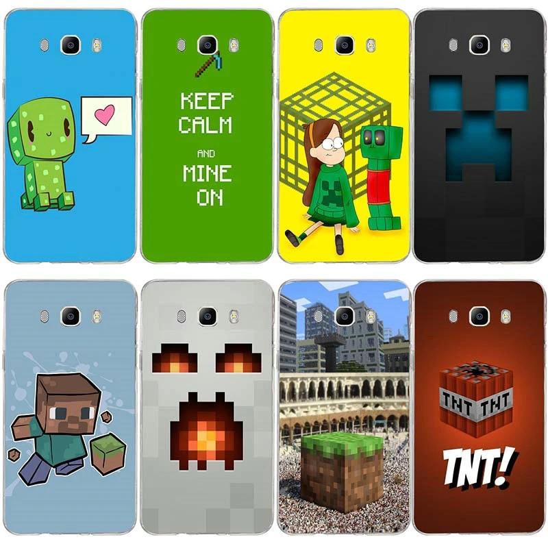 Cute Minecraft Soft TPU Silicone Transparent Phone Cases For Samsung Galaxy J1 J2 J3 J5 J7 A3 A5 A7 2016 2017 Coque Shell