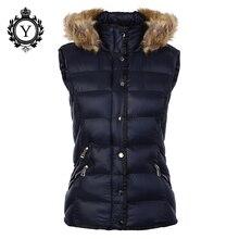 COUTUDI 2016 Popular Vest Down Jackets Fur Hooded Nylon Dark Blue Winter Vest Jacket Coat Sleeveless Women Down Vest Shiny Coats