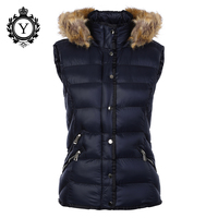 COUTUDI 2019 Popular Vest Down Jackets Fur Hooded Nylon Dark Blue Winter Vest Jacket Coat Sleeveless Women Down Vest Shiny Coats