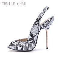 CHMILE CHAU Snakeskin Sexy Women Party Pumps Peep Toe Stiletto Iron High Heel Slingback Ladies Shoe Chaussure Talons 3845 g12