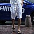 Venda quente! Nova moda mais recente Europeus e Americanos dos homens casuais calções de linho casuais selvagem corda