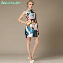 Fashion Slim Summer Sleeveless Ladies Mini Dress Geometric Printing Vest Dress New 2016 Summer Dress Party Evening Sundress