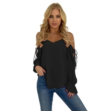 Spring Summer Lace Up Sleeve Off Shoulder Female Clothing 2XL Chiffon