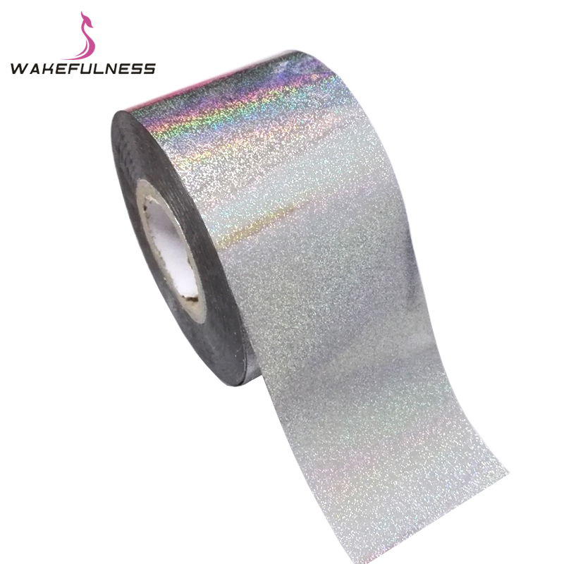 1 Roll Rainbow Nail Art Transfer Foils Holographic Laser Silver Nail Stickers Decals Adhesive Nail Wraps Decorations holographic nail foils all kinds snowflakes pattern diy nail art transfer decals manicure tools gl615