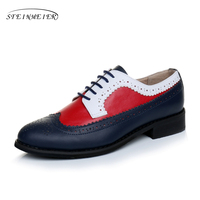 New Genuine Leather Oxford Shoes For Women Lady Lover Quality Oxfords Blue Red Black Grey Shoes