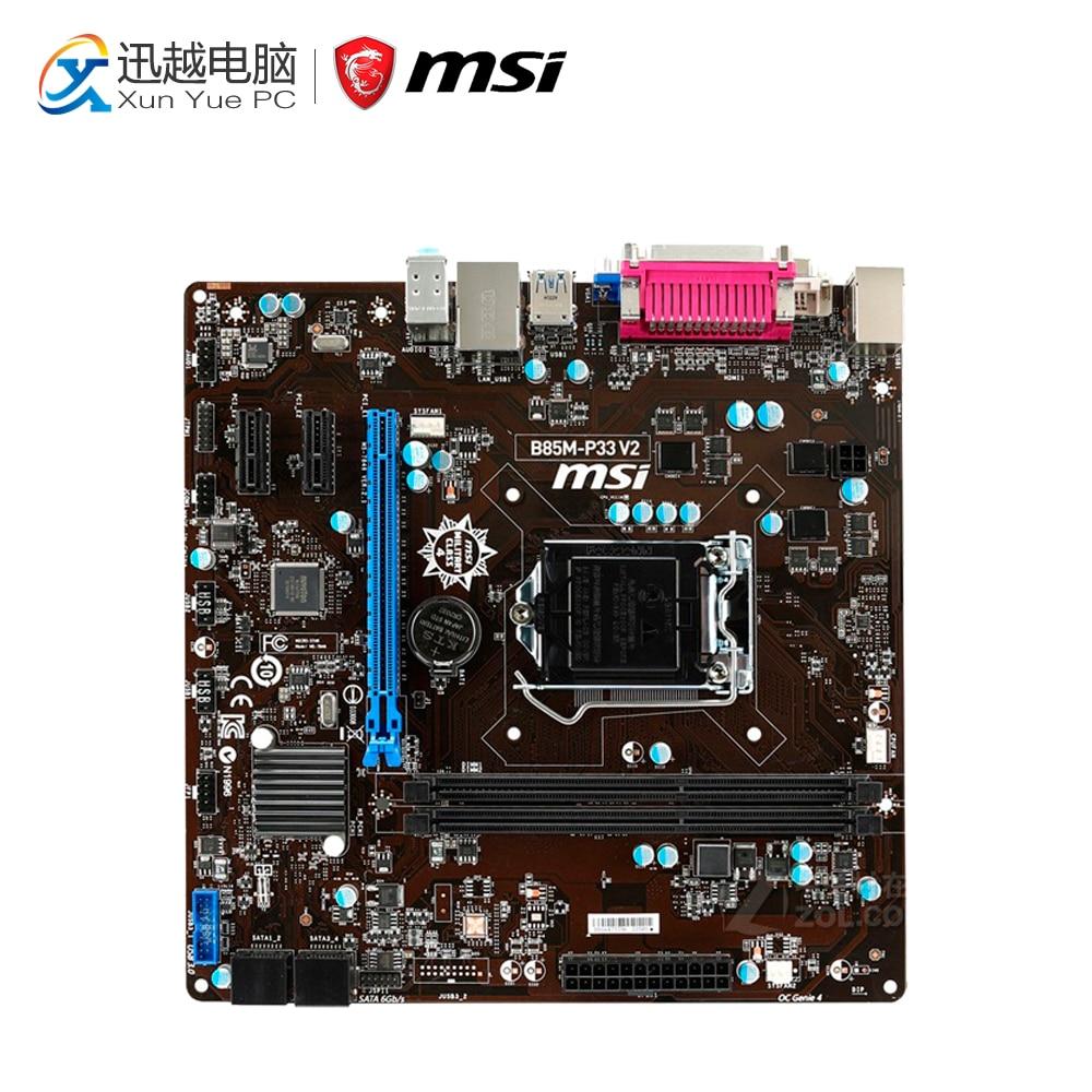 MSI B85M-P33 V2 Desktop Motherboard B85 Socket LGA 1150 i3 i5 i7 DDR3 16G SATA3 USB3.0 Micro-ATX